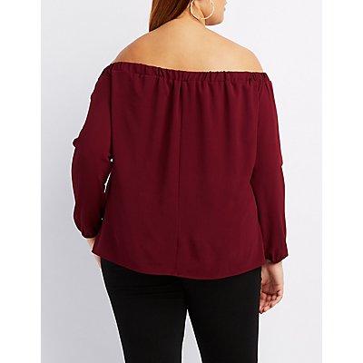 Plus Size Lattice Off-The-Shoulder Top