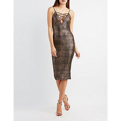 Foil Knit Lattice-Front Bodycon Dress