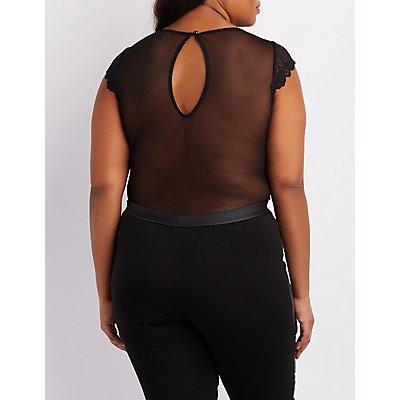Plus Size Sheer Mesh & Lace Bodysuit