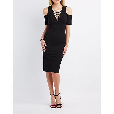 Lattice Cold Shoulder Midi Dress