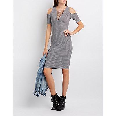 Striped Lattice Cold Shoulder Dress