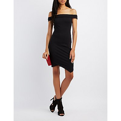 Asymmetrical Off-The-Shoulder Bodycon Dress
