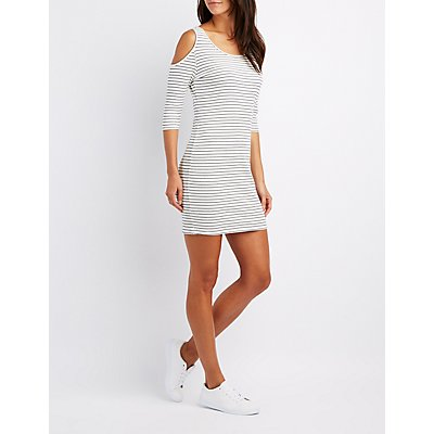 Striped Cold Shoulder Bodycon Dress