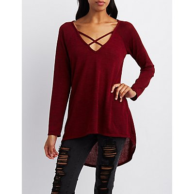 Marled Strappy Tunic Top