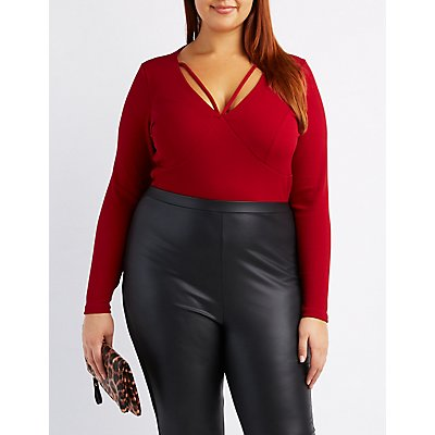 Plus Size Caged V-Neck Bodysuit
