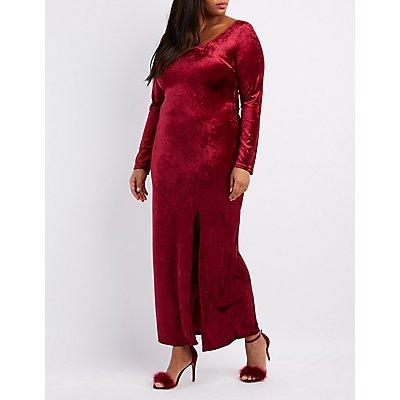 Plus Size Velvet Slit Maxi Dress