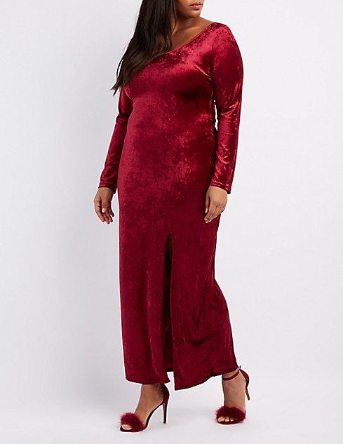Plus Size Velvet Slit Maxi Dress | Charlotte Russe