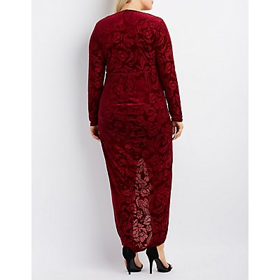 Plus Size Floral Velvet Maxi Dress