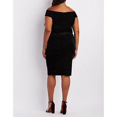Plus Size Velvet Studded Off-The-Shoulder Dress