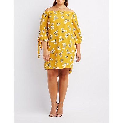 Plus Size Floral Off-The-Shoulder Shift Dress