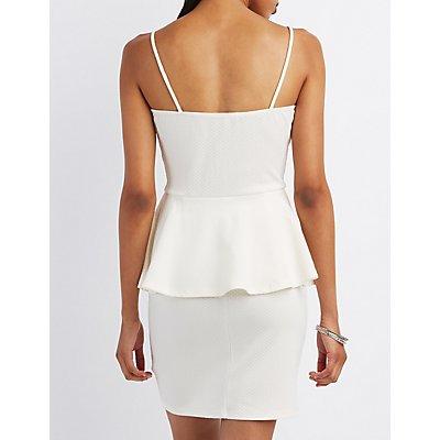 Shimmer Textured Peplum Dress