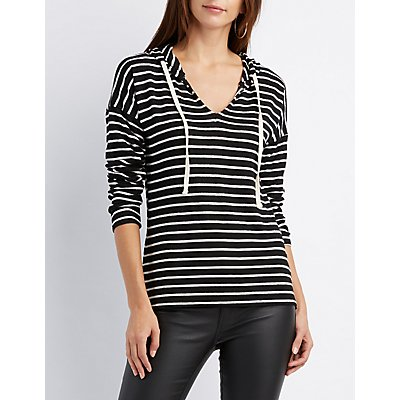 Striped High-Low Hoodie