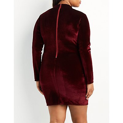 Plus Size Velvet Lace-Trim Mock Neck Dress