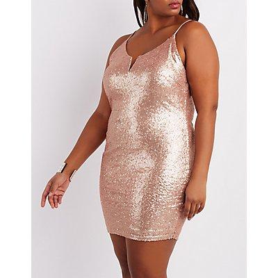 Plus Size Sequin Notched Bodycon Dress