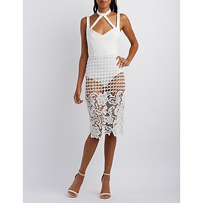 Crochet-Skirt Caged Bodycon Dress