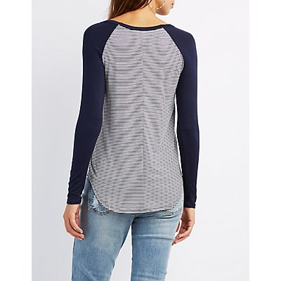 Patched Ringer Striped Tee