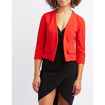 Collarless Ruched Sleeve Cropped Blazer