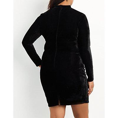 Plus Size Velvet Mock Neck Cut-Out Bodycon Dress