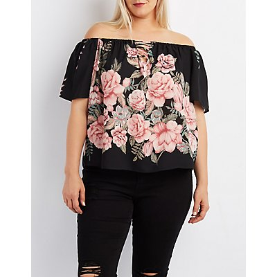 Plus Size Floral Lattice Off-The-Shoulder Top