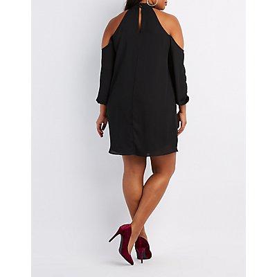 Plus Size Mock Neck Cold Shoulder Shift Dress