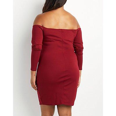 Plus Size Off-The-Shoulder Lace-Up Dress