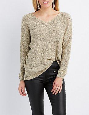 Textured V-Neck Tunic Sweater