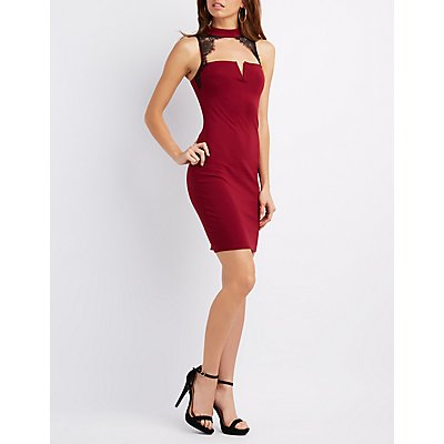 Mock Neck Lace-Trim Bodycon Dress
