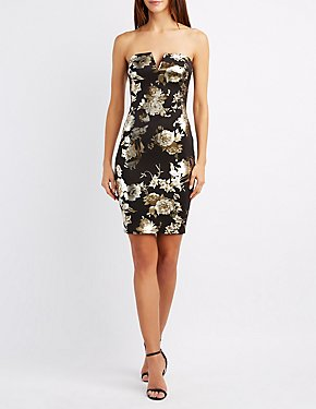 Floral Strapless Bodycon Dress