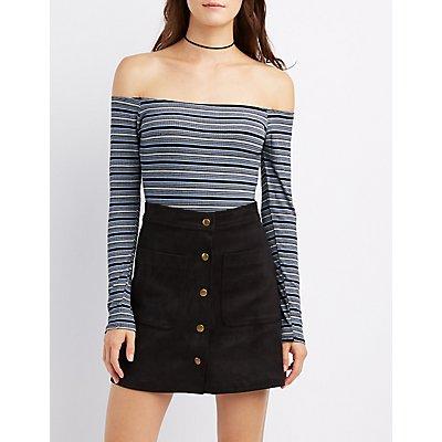 Striped Off-The-Shoulder Bodysuit