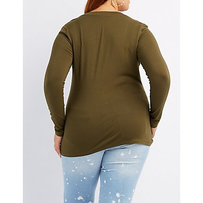 Plus Size Long Sleeve V-Neck Tee
