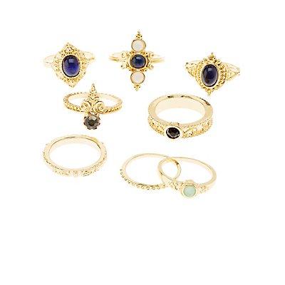 Embellished Stackable Rings - 8 Pack