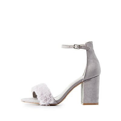 Faux Fur-Trim Two-Piece Dress Sandals