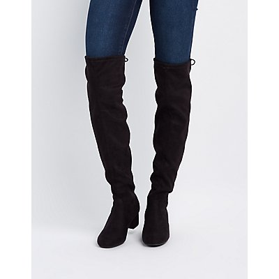 Over-The-Knee Low Heel Boots   Charlotte Russe