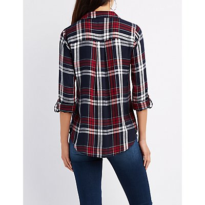 Plaid Flannel Lace-Up Shirt