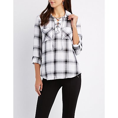 Plaid Flannel Lace-Up Shirt