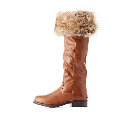 Bamboo Faux Fur-Cuffed Riding Boots