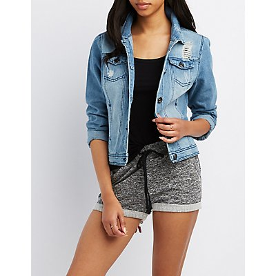 Patch Distressed Denim Jacket