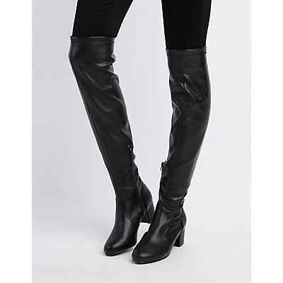 Bamboo Over-The-Knee Block Heel Boots