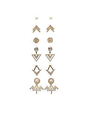 Stud Earrings & Ear Jackets - 6 Pack