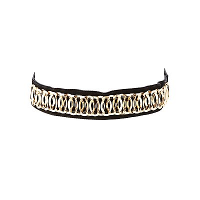 Metal-Trim Velvet Choker Necklace