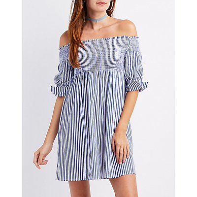 Smocked Off-The-Shoulder Shift Dress