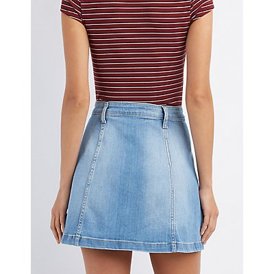 Cello Denim Button-Up Skirt