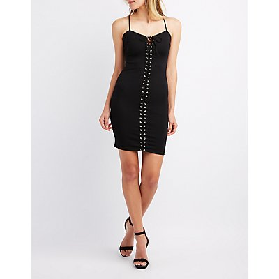 Lace-Up Front Bodycon Dress