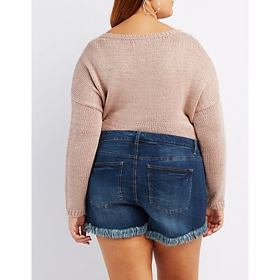 Plus Size Refuge Girlfriend Cut-Off Denim Shorts | Charlotte Russe