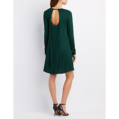Open Back Trapeze Shift Dress