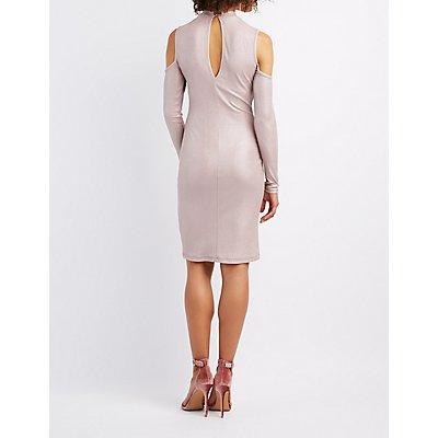 Shimmer Mock Neck Cold Shoulder Dress