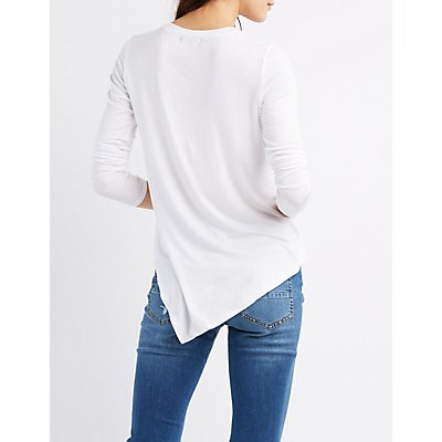 Asymmetrical Crew Neck Tee