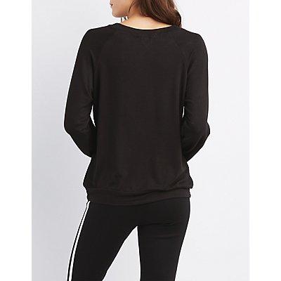 Scoop Neck Raglan Sweatshirt