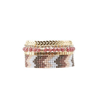 Embellished & Beaded Layering Bracelets - 4 Pack