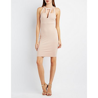 Caged-Front Bodycon Dress